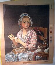 "J.B. Greuze ""The Wool Winder"" Penalope Needlepoint Canvas Tapestry  25.5""x35.5"""