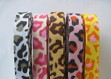 "3/8"" Grosgrain Ribbon LEOPARD PRINTED lot of 10 Yards~2 Yards each color."