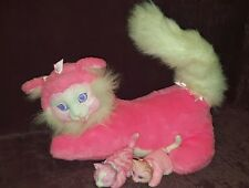 VINTAGE KITTY SURPRISE PLUSH STUFFED CAT WITH 2 KITTENS - HASBRO HOT PINK