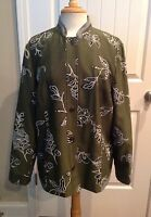 Coldwater Creek Green FLORAL & HOUNDSTOOTH Mandarin Collar Jacket - Size 1X