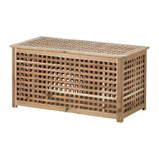IKEA HOL ACACIA STORAGE TABLE LARGE WOODEN LAUNDRY BASKET