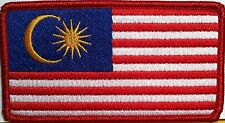 MALAYSIA  Flag Iron On Patch  Emblem  Red Border