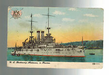 1907 USA picture Postcard US Navy USS Alabama Battleship In Review San Francisco