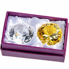 2 PCS Clear Yellow Crystal Diamond Paperweight Wedding Party Decor Gift Box 40mm