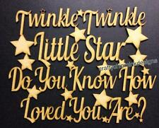 Twinkle twinkle little star Wood Craft cutout sign plaque 400 x 300mm mdf in 4mm