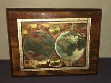 Vintage Holographic World Americana Map Decorative Wooden Wall Plaque