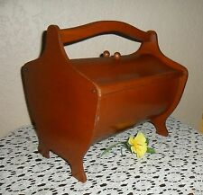 LOVELY VINTAGE OLD WOOD FLIP DUAL TOP SEWING STORAGE BOX BASKET CABINET