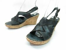 Born Platform Sandals Womens 7 Cork Sole Wedge Black Leather Woven Slingbacks