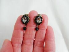 LIZ PALACIOS Black Swarovski Crystal Dangle Clip EARRINGS