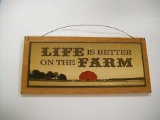 life is better on farm country kitchen wooden wall art sign chicken decor wood