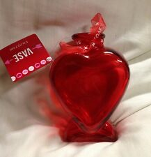 "Valentine's Day 5"" Tall RED Glass Heart Shaped Table Vase Decoration New"