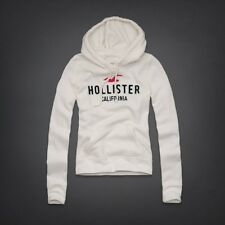 NEW Womens %HOLLISTER ABERCROMBIE% White Vintage Pullover Hoodie Sweatshirt Sz.L