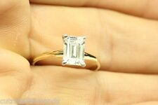 Emerald Cut Solitaire Engagement Wedding Ring 1.50 Carat 14k Real Yellow Gold