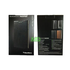NEW Genuine BlackBerry Passport Black Leather Flip Case Cover in Retail Pack OEM