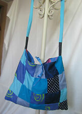HANDMADE QUILTED BLUE  BAG ONE OF A KIND TOTE DIRECTLY FROM THE ARTIST14 X 12