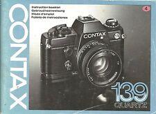 Contax 139 Original Instruction Book