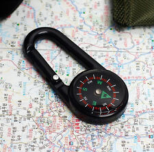 Portable Carabiner Compass Black Key Clip Survival Military Tactical Camp Hike