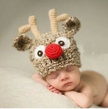 Newborn Baby Infant Knitted Antlers cap Crochet Costume Photo Photography Prop