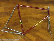 RARE VINTAGE RAZESA CROMOVELATO RED CHROME LUGGED STEEL ROAD BIKE FRAME SET 58CM