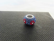 Genuine DEEP BLUE CRYSTAL inset RED FLOWER charm bead. 925 Silver 4mm Core