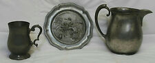 VINTAGE LOT OF PEWTER GIMBLES WATER PITCHER, NEWBURYPORT BEER STEIN & WALL PLATE