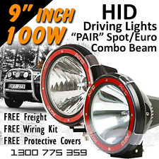 HID Xenon Driving Lights - 9 Inch 100w Spot/Euro Beam Combo 4x4 4wd Off Road