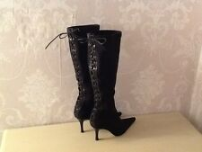 Karen Millen black stilletto knee boots size 6, lace up detail