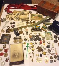 Vintage & Modern Mens Jewelry Junk Drawer Lot 115 Items Tokens Ads Lg Variety!!