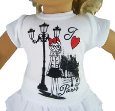 "I LOVE PARIS T-Shirt Tee Top made for 18"" American Girl Doll Clothes"