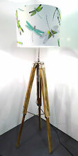 Natural Wooden Tripod Floor Lamp Base Only with Adjustable Legs & Neck FREE P&P