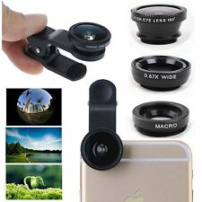 3 in1 Fish Eye + Wide Angle + Macro Lens Fisheye Clip For iPhone 4 5 5S 6 6 Plus