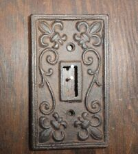 Set of 5 Cast iron single light switch plate shabby cottage fleur de lis chic