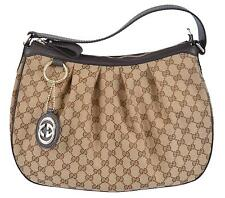 New Gucci 364843 Brown Canvas GG Charm Guccissima Sukey Purse Bag Hobo
