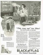 1920s BIG Vintage Black Flag Fly Spray Insecticide Powder Housewife Art Print Ad