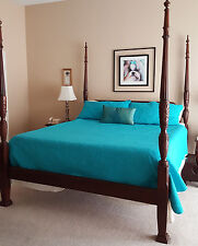 High End 4-Poster Bed Rice Carved Cherry Cal King
