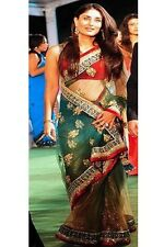 Designer Sari Karina Kapoor Green Net Bollywood Saree