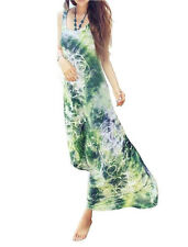 Womens Ladies Green Tie Dye Maxi Dress Silky Beach & Evening Dress *UK Seller