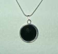 SIMPLE ROUND FACETED BLACK ACRYLIC PENDANT SILVER PL MOUNT & ROUND CHAIN