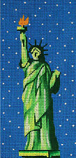 "NEEDLEPOINT Handpainted Amanda Lawford NEW YORK Statue Liberty 3""x6"" 18M"