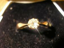 Beautiful 1940s 14ct Gold & Old Mine Square Cut Diamond Solitaire Ring