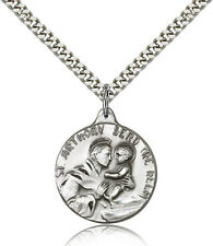 """Saint Anthony Medal For Men - .925 Sterling Silver Necklace On 24"""" Chain - 30..."""