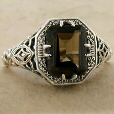 GENUINE SMOKY QUARTZ ANTIQUE DECO STYLE 925 STERLING SILVER RING SIZE 9,    #909