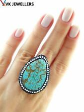 TURKISH HANDMADE 925 STERLING SILVER TURQUOISE DRUSY HAMMERED RING VK26
