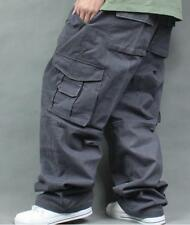 Mens Cargo Overalls Pants Jeans Hip Hop Loose Fashion Elastic Military Trousers
