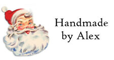 65 Personalised Handmade Mini Labels Stickers Vintage Father Christmas Design