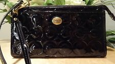 NWT Coach Peyton Op Art Embossed Patent Leather Zippy Wallet in Black: #50450