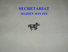 NEW SECRETARIAT MAIDEN WIN AT AQUEDUCT HAND PAINTED HORSE RACE JOCKEY SILKS PIN