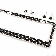 All Black Bling Glitter Crystal RhineStone License Plate Frame Car Truck Auto