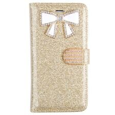 For Iphone 5 5s SE Bling Glitter Case W/Bow and Credit Card Wallet Case GD