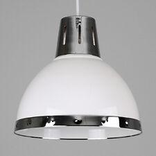 Contemporary Gloss White + Chrome Retro Kitchen Ceiling Pendant Light Shade Home